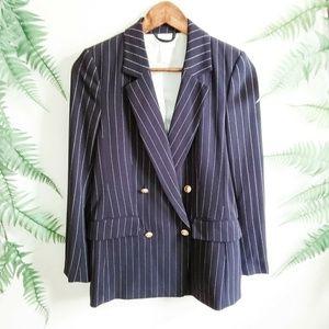 H&M Navy & White Pin Stripe Double Breasted Blazer
